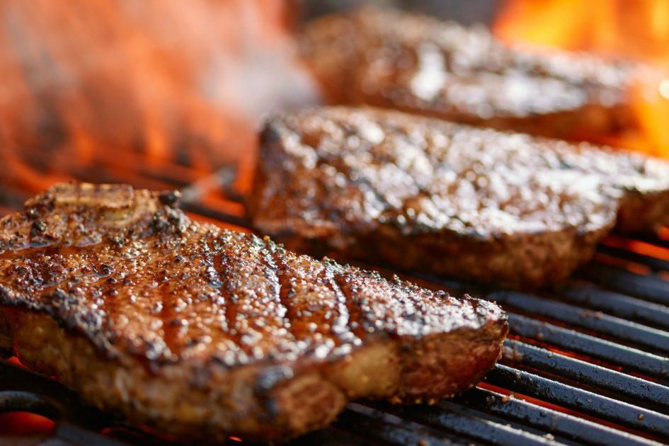 Harris Ranch in Coalinga steaks on a grill