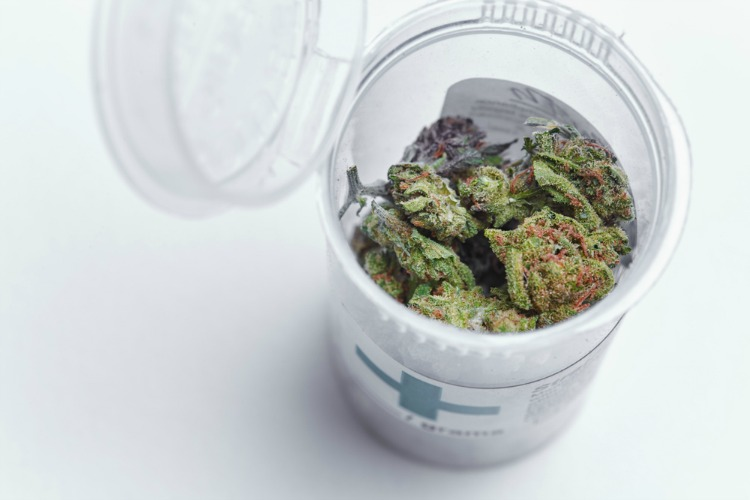 How to store cannabis container with bud