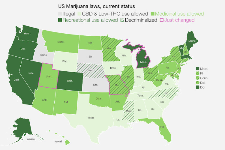 the Truth about CBD Map of US