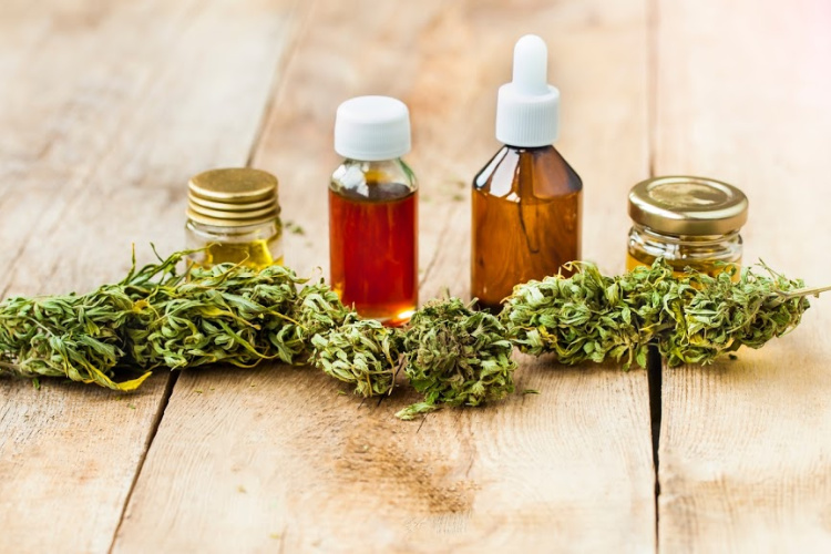 hemp cbd vs cannabis cbd oils behind flower