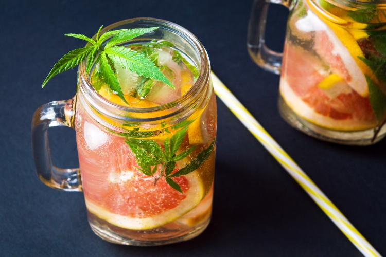 cannabis cocktails drink in mason mug