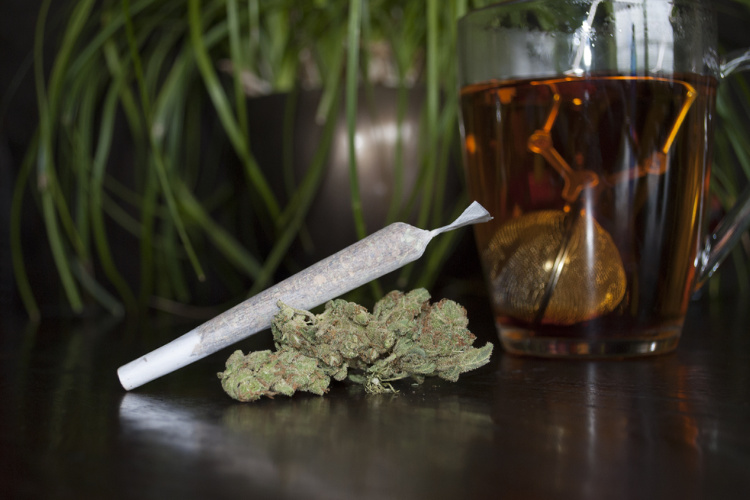 cannabis tea and joint